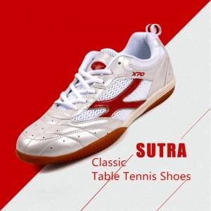 Spanrde Men's & Women's Professional Table Tennis Ventilation Shoes [White/Red]