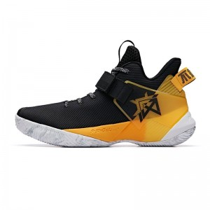 Anta 2019 Summer New 要疯 Shock The Game Men's High Tops Basketball Sneakers - Black/Yellow