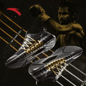 2018 Spring Anta x Manny Pacquiao Men's Boxing Training Shoes - Gold/Black