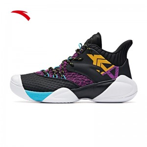"""Anta 2019 Klay Thompson KT4 """"Shock The Game"""" High Basketball Shoes - Black/Purple/Yellow"""