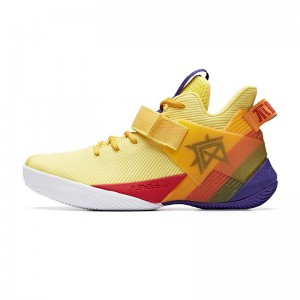 Anta 2019 Summer New 要疯 Shock The Game Men's High Tops Basketball Sneakers - Yellow